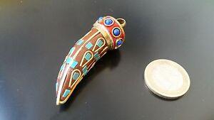 Pendentif-Corne-Argile-Perles-de-Verre-Bijoux-Fantaisie-Nepal-Couleurs-Metal