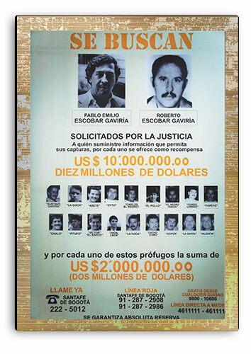 Pablo Escobar Wanted Poster,Novelty Wooden Sign,Wooden Plaque