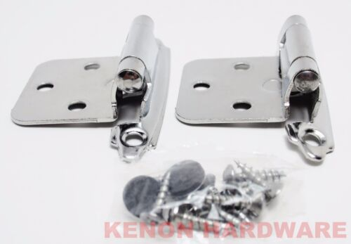 Lot of 25 Pairs 50pcs Self Closing OVERLAY Flush Cabinet Hinges Chrome Plated