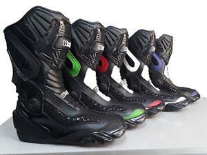Botas-para-moto-Motocicleta-Negro-Azul-Rojo-Blanco-en-Cuero-De-Carreras-Blindado