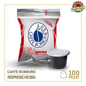 100 CIALDE CAPSULE COMPATIBILI NESPRESSO CAFFE' BORBONE MISCELA ROSSA
