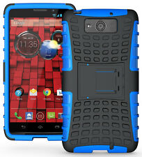 BLUE GRENADE RUGGED TPU SKIN HARD CASE COVER STAND FOR MOTOROLA DROID MAXX/ULTRA