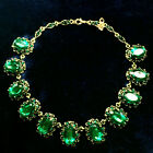 38.7 CT Oval Green Emerald Statement Necklace Yellow Gold Fashion Jewelry B73