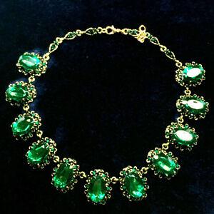 38-quilates-Verde-Esmeralda-Oval-corte-Distintivo-Collar-De-Oro-Amarillo-Joyeria-de-Moda