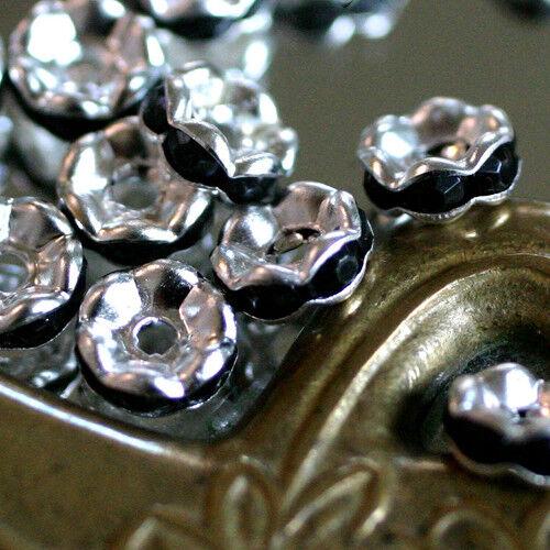 10 Perles Mini Spacers RONDELLES Métal//Strass-NOIR   3 X 6 mm