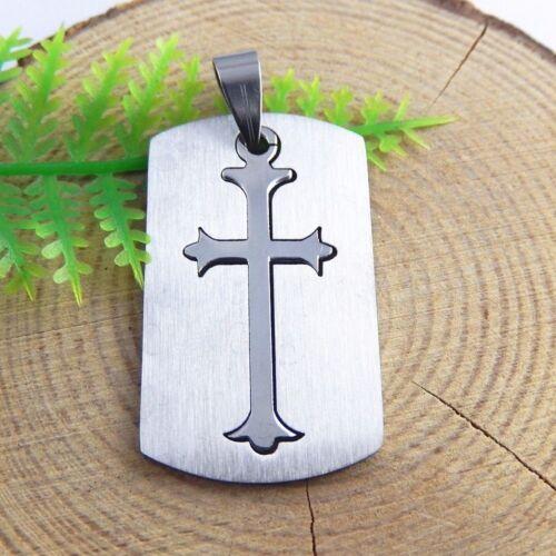 Silber Ton Edelstahl Trennbares Kreuz Anhänger Charme Schmuck Zubehör 3X 51470
