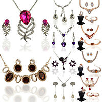 Women 18k Gold Plated Austrian Crystal Necklace Earrings Set Chic Jewelry Sets