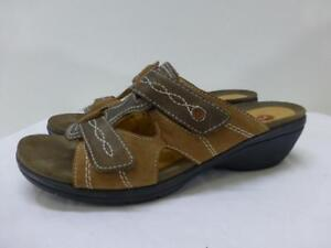 aaadfe37ee3e Image is loading CLARKS-Structured-86418-brown-leather-Sandals-slide-wedge-