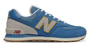 NEW-BALANCE-574-Scarpe-Uomo-Sneakers-Suede-Textile-MAKO-BLUE-YELLOW-ML574SCA