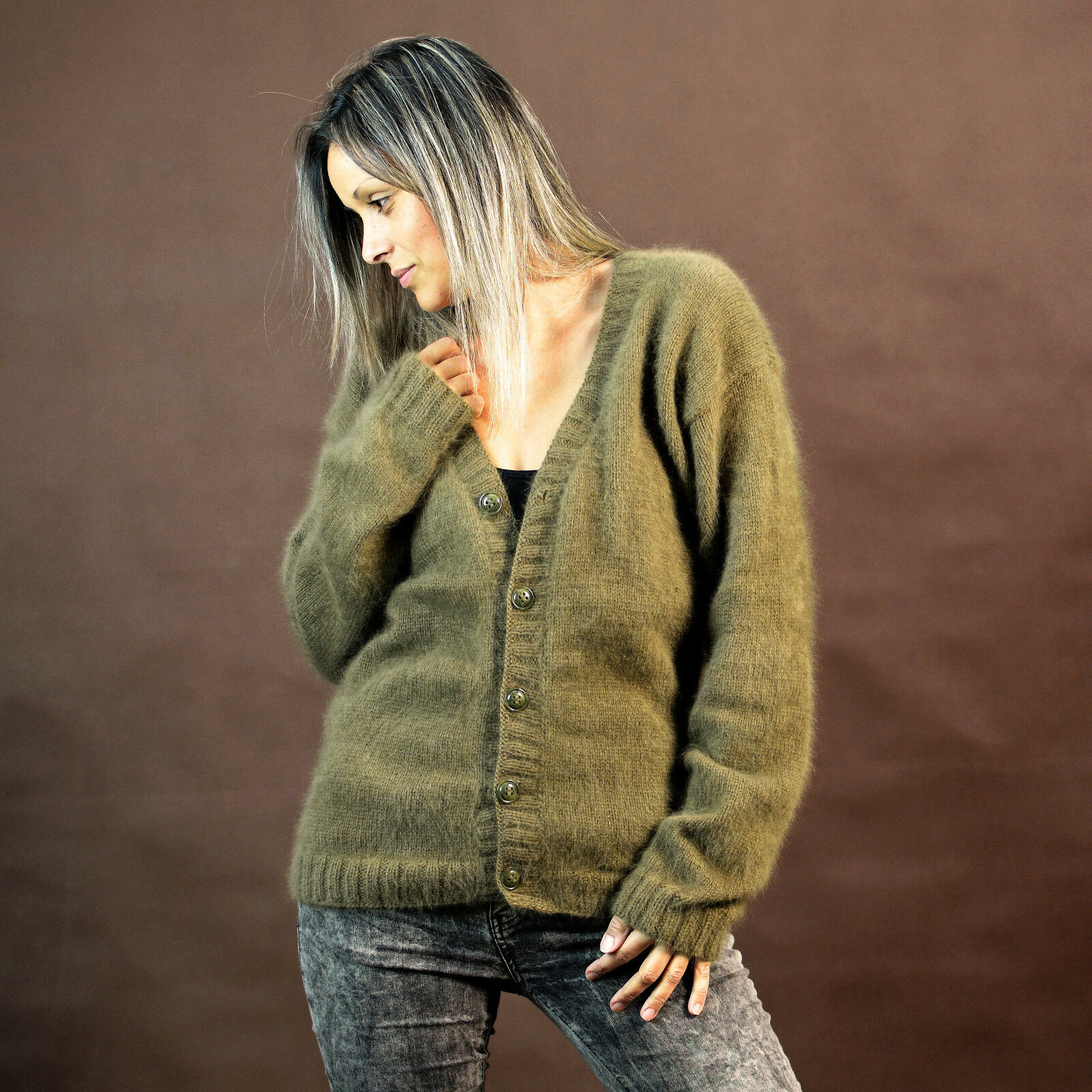 New GREEN Hand Knitted 100% Angora Sweater Fluffy Cardigan by EXTRAVAGANTZA M L