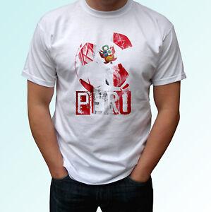 Bandera-de-futbol-de-Peru-Blanco-T-Shirt-Tee-parte-superior-de-la-Copa-Mundial-de-Futbol-Camiseta