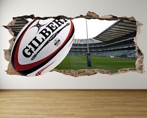 WS13-RUGBY-STADIUM-POSTS-3D-HOLE-IN-WALL-SMASH-WALL-ART-DECAL-sticker-MURAL-team
