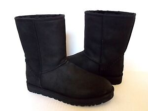 d0e199bf630 Details about UGG Mens Classic Short Deco boots Shearling lined Black  leather US 9 NEW 1008558