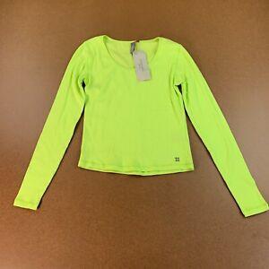 Sweaty-Betty-Women-039-s-Size-Medium-Green-Long-Sleeve-Tadasana-Ribbed-Yoga-Top-NWT
