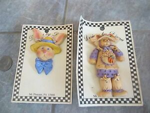 2 CUTE Designs by DIANA Bunny RABBIT Pins BROOCHES FREE SHIPPING! a