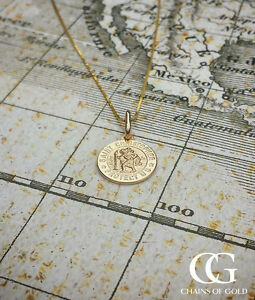 Small-9ct-Yellow-Gold-St-Christopher-Pendant-Necklace-CHILDREN-PERSONALISE