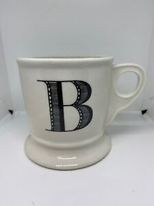 Anthropologie-Monogram-034-B-Alphabet-Mug-Shaving-Style-Cup-White-Black-Letter