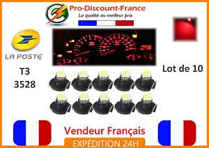 10 x Ampoule T3 LED SMD 3528 ROUGE tableau de bord 12V ampoules lot RED light