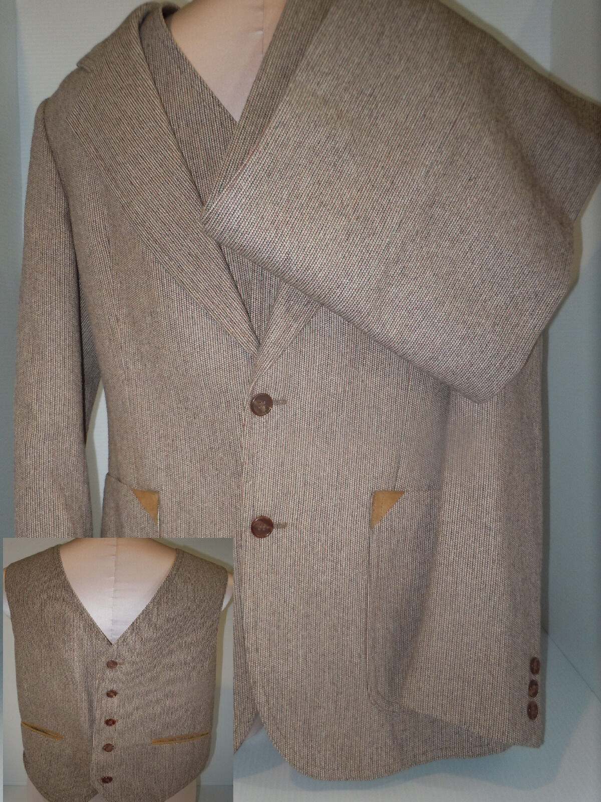 MEMBERS ONLY Mens Pant Suit Blazer Elbow Patch Vest Sz ECU 40 Beige USA 31 31