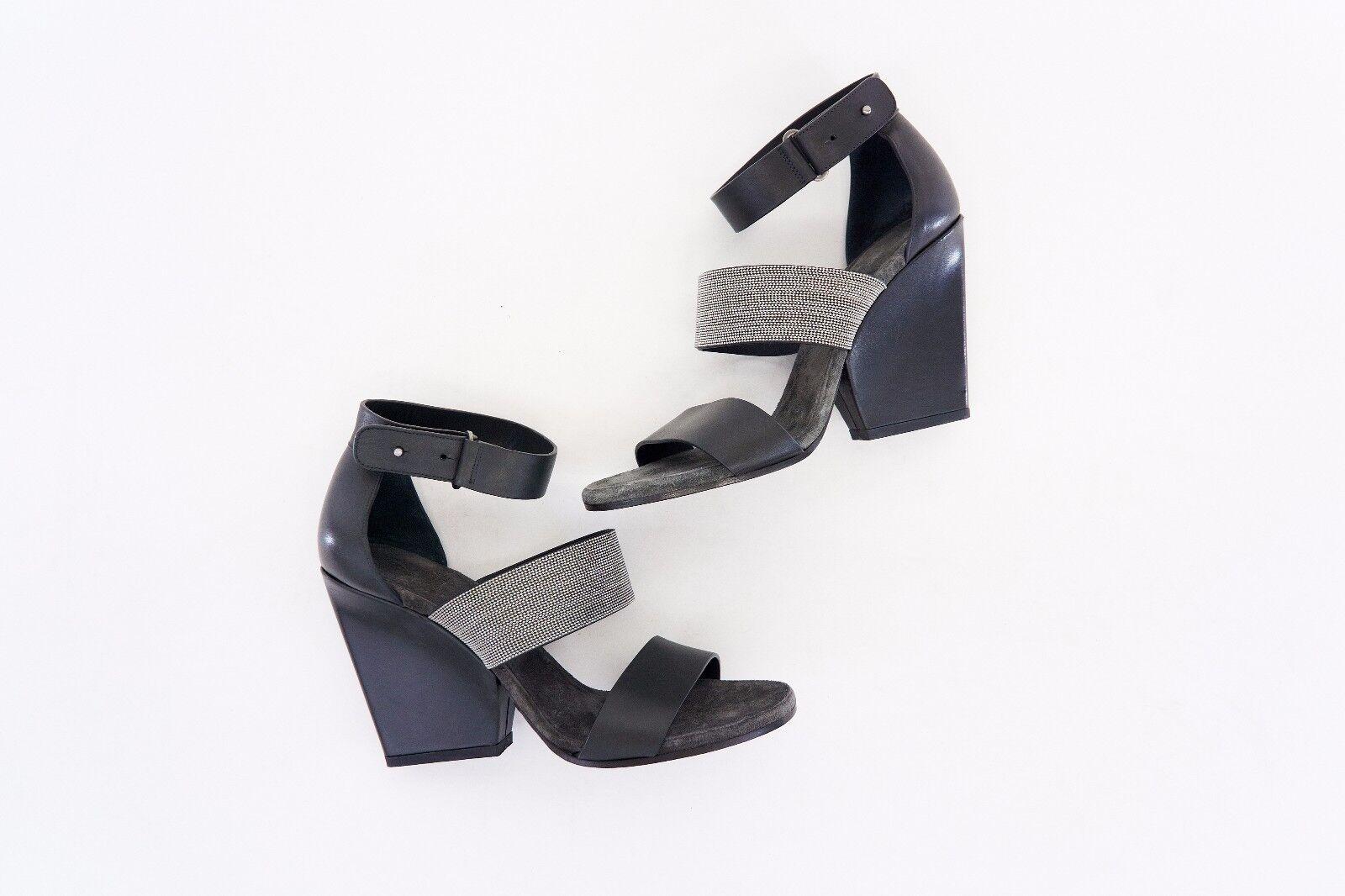 NWOB  1625 Brunello Cucinelli 100% Leather Monili Monili Monili Beaded Ankle Strap Wedges A176 8c00c5