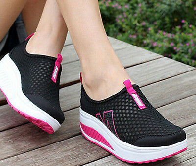 Womens Sneakers Flats Athletic Breathable Sport Summer Slip on Casual Mesh Shoes
