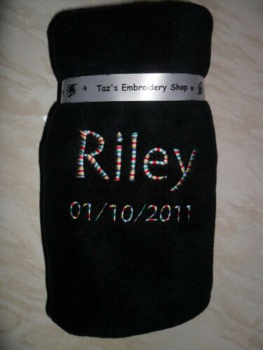 PERSONALISED NAMED BABY BLANKET WHITE CREAM PINK BLUE BLACK CHOOSE THREAD COLOUR