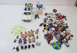 Lavoro-LOTTO-PLAYMOBIL-GHOSTBUSTERS-Bundle-tra-cui-Marshmallow-man-e-ECTO-1-AUTO