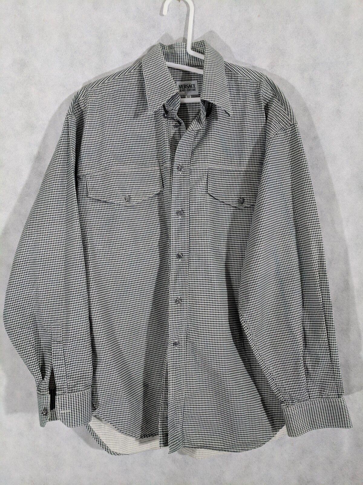 Versace Jeans Couture Vintage Gingham Medusa Button Shirt Mint Condition Medium