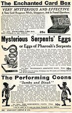 1936 Print Ad of The Performing Coons Sambo & Dinah Black Americana Serpent Eggs