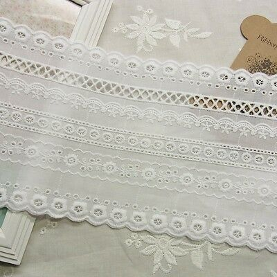 1yard Vintage Style Embroidery Cotton Lace Trim Lovely Flowers 13cm WIDE minione