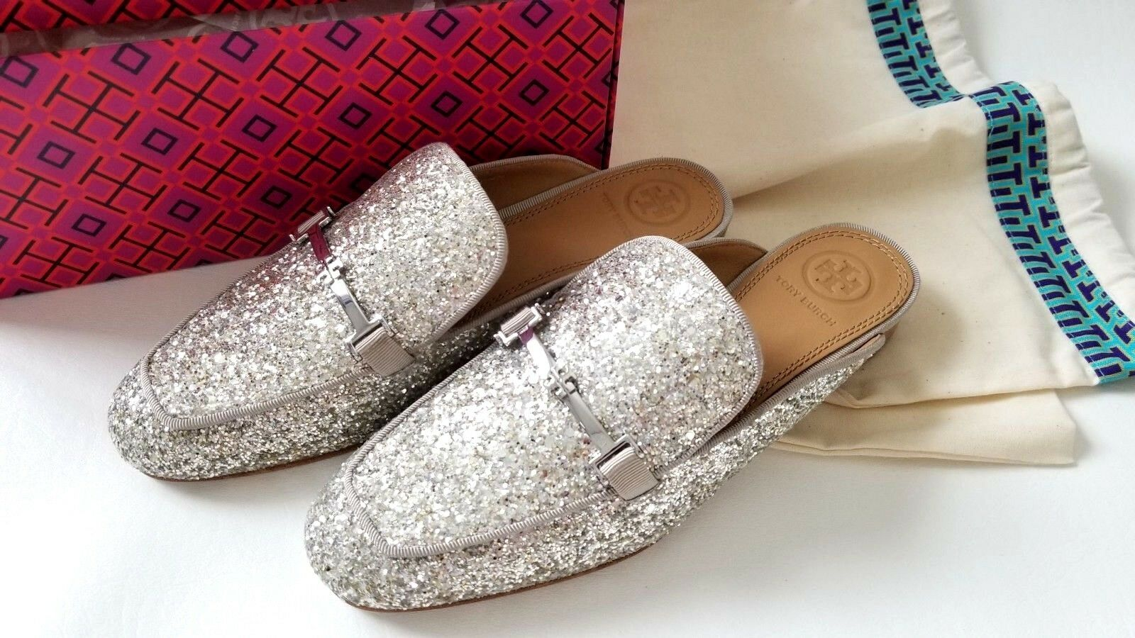 NEW Tory Burch glitter shimmer fabric Leather Loafers dress sandal shoes flats