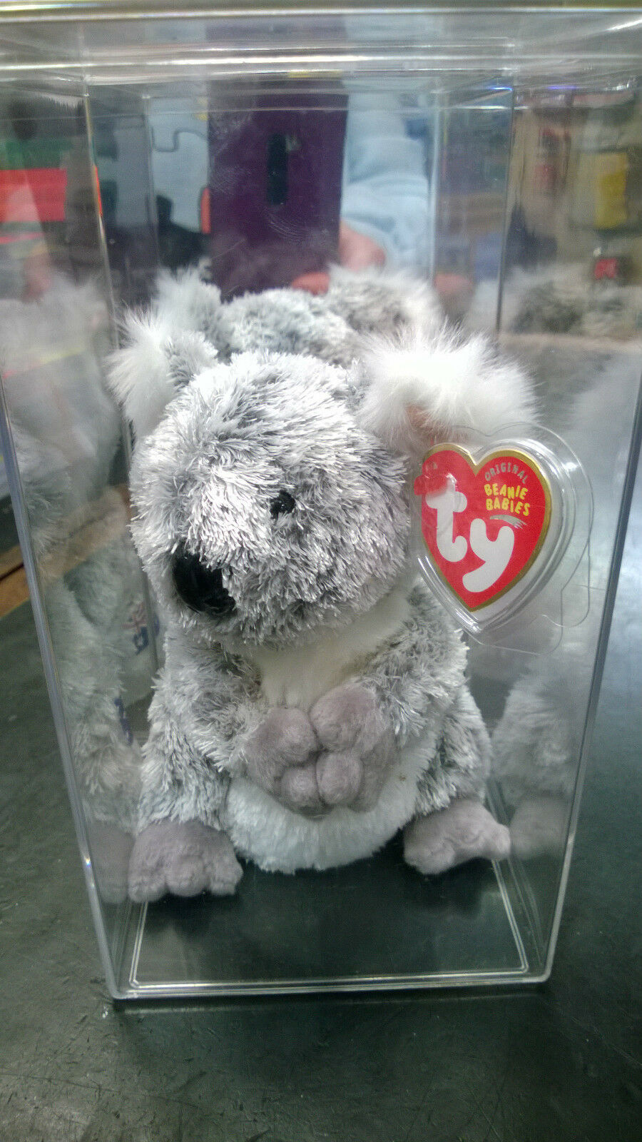 Ty Beanie Baby Koowee The Koala Australian Exclusive 2003 NWT in display case