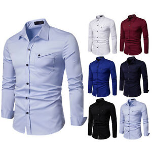 Men-039-s-Business-Casual-Fashion-Pure-Color-Long-Sleeved-Single-Breasted-Shirts-Top
