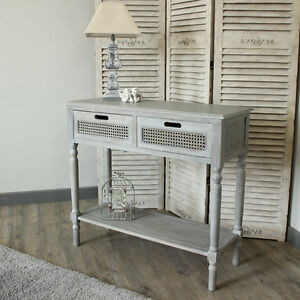 Vintage grey washed living console table storage unit hallway ...