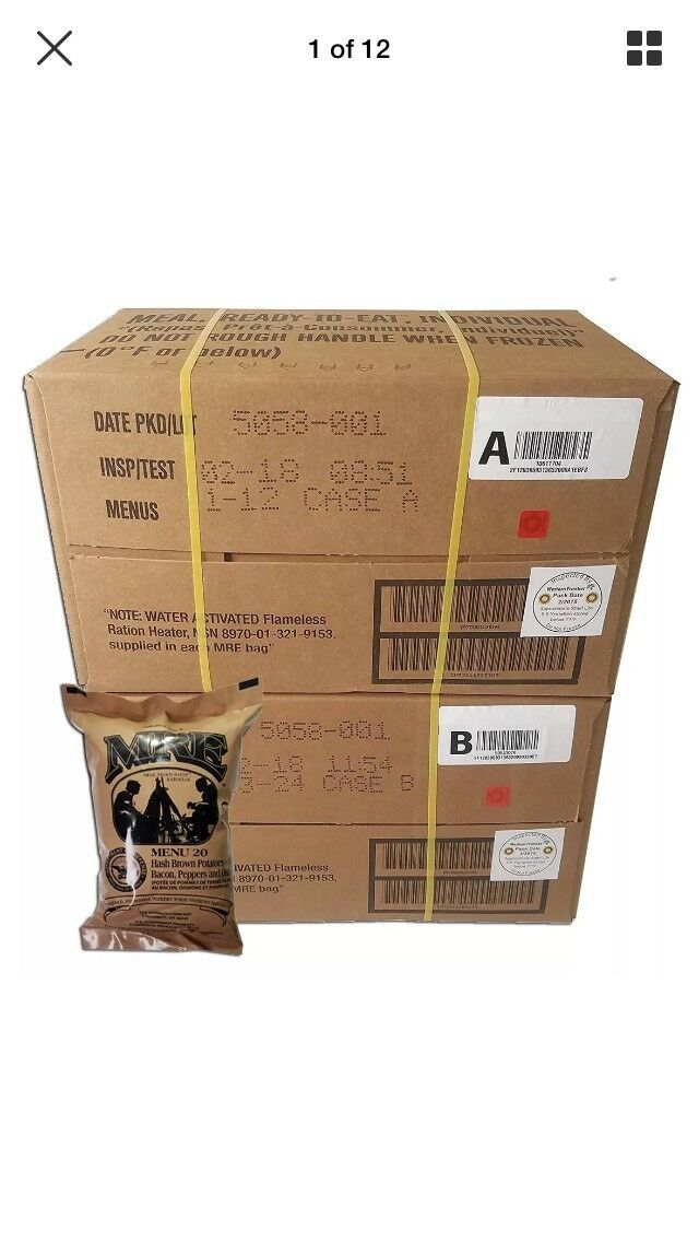 Military MRE 2020 US ULTIMATE Case  A and B Bundle 24 Meal Ready to Eat M.R.E.  official authorization