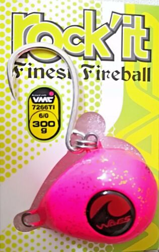 WAVES KABURA SHAPE LURE FINEST FIREBALL ROCK'IT 300gr 6/0 COLOR PINK