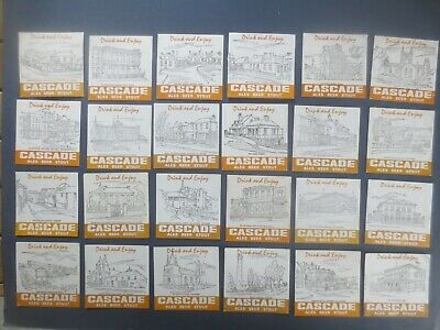 """complete set of 24 CASCADE BREWERY1980,s Issued BEER COASTERS /""""RED/"""""""