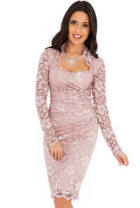 online store 799c2 89ac5 Dettagli su Vestito abito donna al ginocchio in pizzo scollatura a cuore  rosa antico perla
