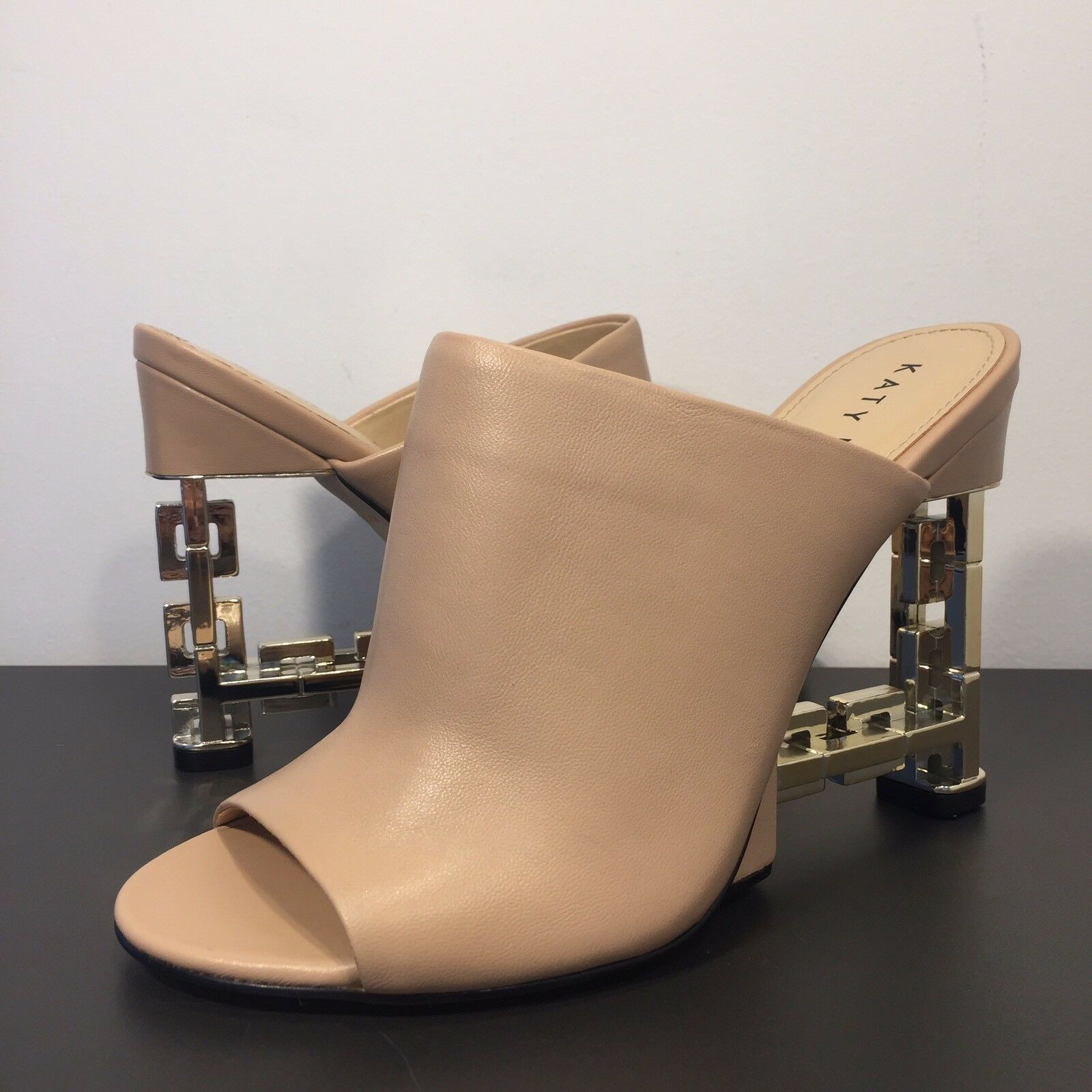KATY PERRY 'The Perry' Nude Tan Leather or Mule Peep Toe Heel (MSRP  149)