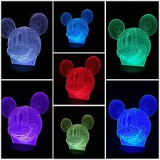 MICKEY MOUSE - LED Desk 3D Light USB Touch Illusion 7 Color Change Night Lamps