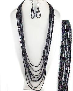 Handmade-Balinese-Long-Purple-AB-Layered-Seed-Bead-Earrings-Necklace-Jewelry-Set