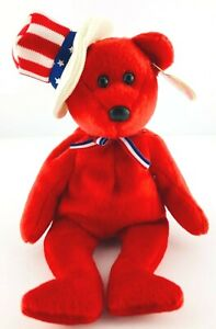 Ty Beanie Babies - SAM The Bear - Stars Stripes Tophat Fourth of July MWNT 2003