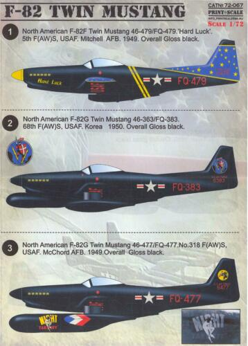 Print Scale Decals 1//72 NORTH AMERICAN F-82 TWIN MUSTANG Night Fighter