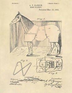 Horse-Blanket-US-Patent-Art-Print-Official-Vintage-Antique-Original-Cowboy-748