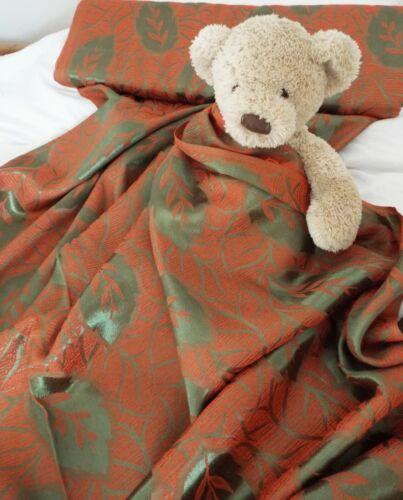 Unused antique vintage 1930s green /& orange satin brocade material fabric per M