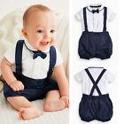 Newborn Baby Boy Bow Tie+T-shirt+Bib Pants Overalls 3PCS Set Outfit Clothes