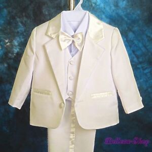5pcs Set Ivory Formal Suits Wedding Christening Outfits Baby Boys Sz 9-12M #022A