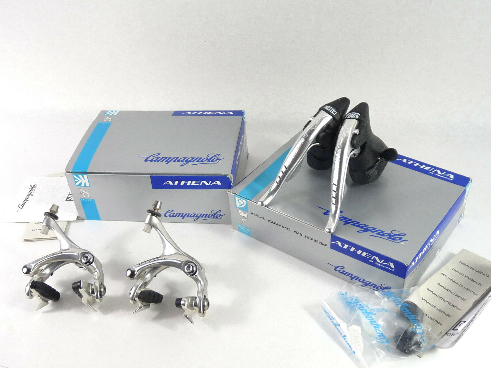 Campagnolo 9  Speed Athena Ergopower shifters & Brake Caliper Set 1998 Alloy NOS  buy cheap new