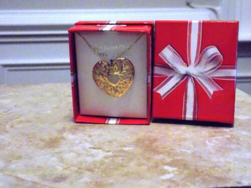 Princess Pride GOLD Sterling Silver .925 large heart NECKLACE PENDANT free ship