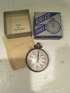 Vintage-Galco-Timer-Stop-Watch-Made-in-Switzerland-Excellent-Condition-W-Bag-Box